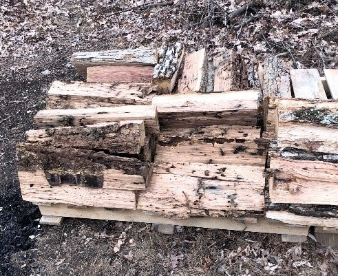 wood stacked on a pallet