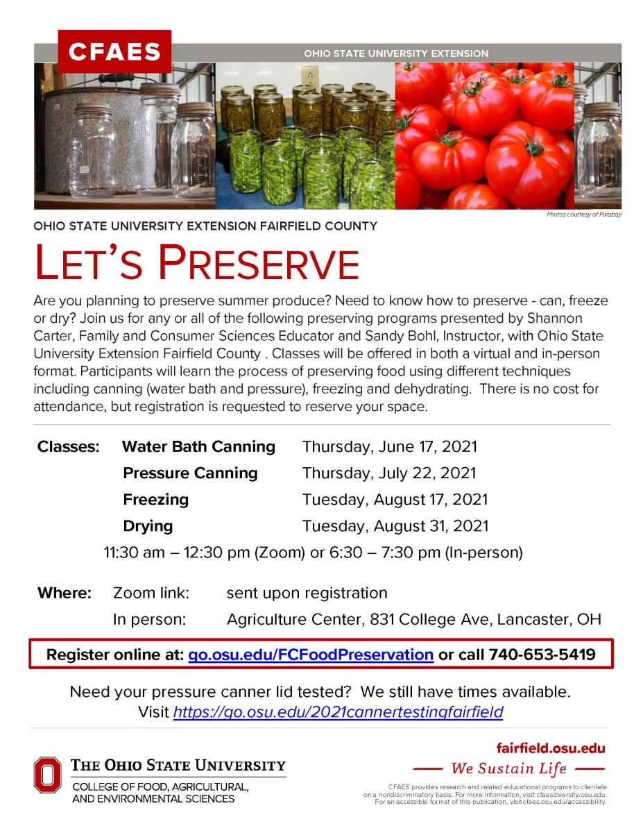 2021 Food Preservation flyer; repeats details listed in news article above