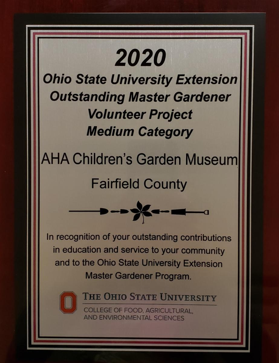 2020 OSU Extension Outstanding MGV Project Medium Category award to Fairfield County's AHA! Children's Museum