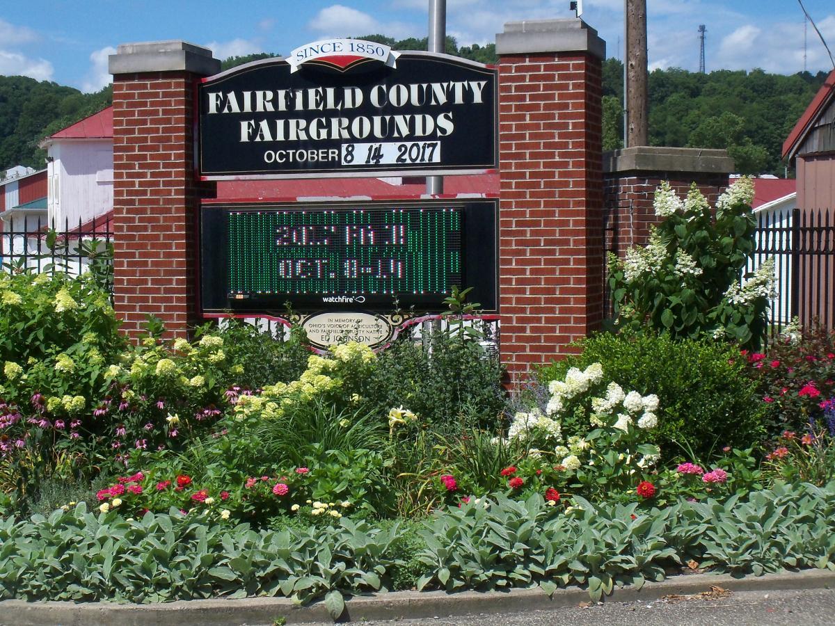 Fairfield County Fairgrounds entrance sign and garden area