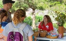 MGV speaking with guests during Honeyfest at Wagnall's Garden