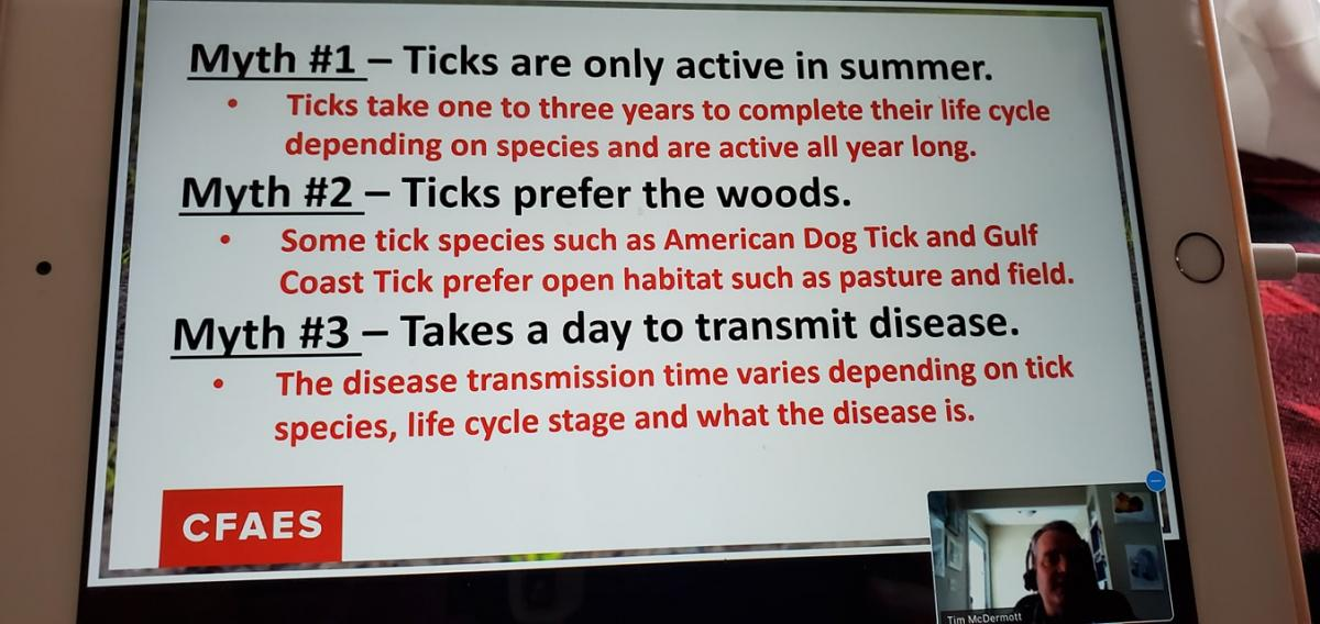 picture of an Ipad screen displaying Myths about ticks from a continuing education class